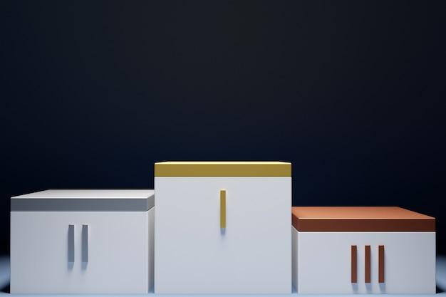 Ilustração 3d de um pódio de vencedor em fundo preto.