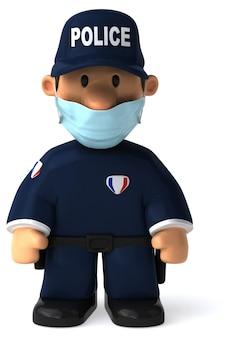 Ilustração 3d de um policial de desenho animado