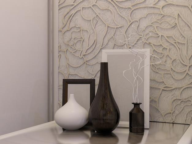 Ilustração 3d de um quarto branco em estilo moderno