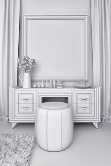 Ilustração 3d de um quarto branco no estilo clássico