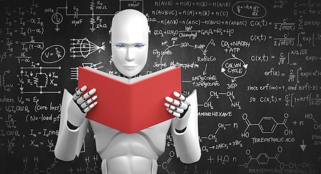 Ilustração 3d de um robô humanóide lendo livro e resolvendo matemática