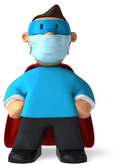 Ilustração 3d de um super personagem com uma máscara