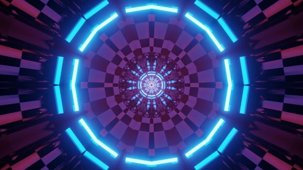 Ilustração 3d de um túnel de mundo virtual sem fim com células circulares e quadros de néon brilhantes para um design futurista abstrato