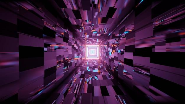 Ilustração 3d de um túnel escuro com paredes brilhantes brilhando luzes neon roxas como abstrato