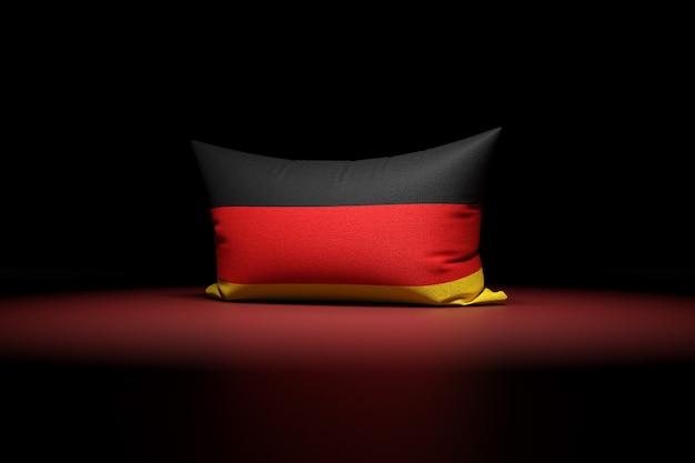 Ilustração 3d de uma almofada retangular com a bandeira nacional da alemanha