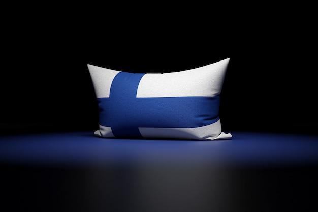 Ilustração 3d de uma almofada retangular com a bandeira nacional da finlândia