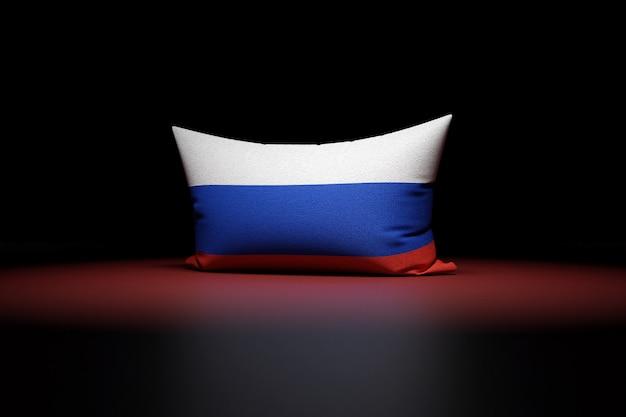 Ilustração 3d de uma almofada retangular com a bandeira nacional da rússia