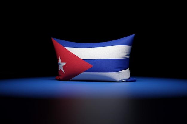 Ilustração 3d de uma almofada retangular com a bandeira nacional de cuba