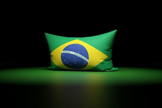 Ilustração 3d de uma almofada retangular com a bandeira nacional do brasil