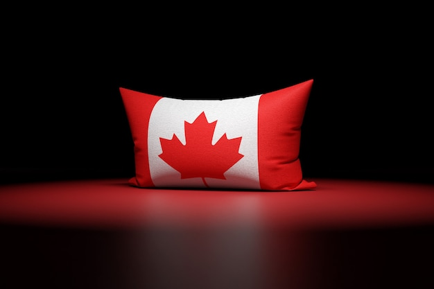 Ilustração 3d de uma almofada retangular com a bandeira nacional do canadá
