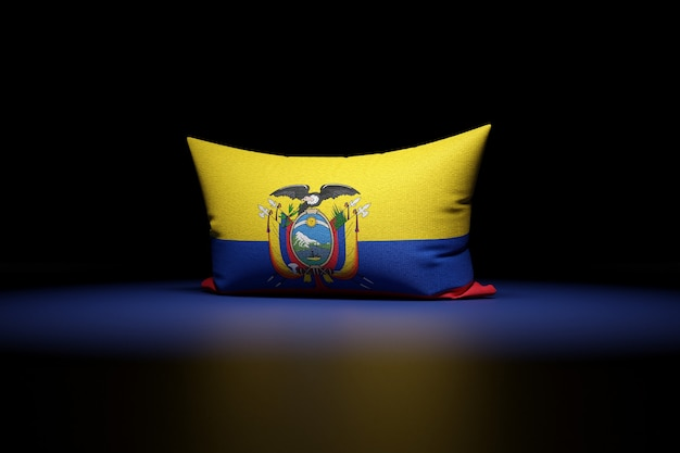 Ilustração 3d de uma almofada retangular com a bandeira nacional do equador