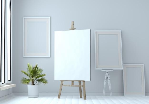 Ilustração 3d de uma armação de madeira com lona em branco e quadros vazios. brincar. oficina do artista
