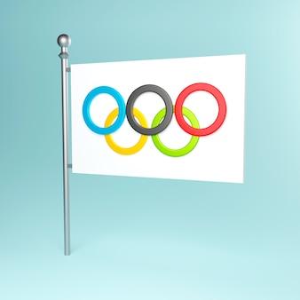 Ilustração 3d de uma bandeira olímpica com anéis olímpicos em um mastro