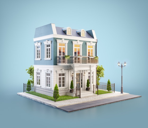 Ilustração 3d de uma bela casa com entrada branca, gramado e um pequeno jardim bonito na estrada em um bairro agradável