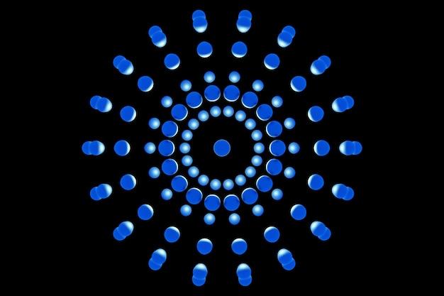 Ilustração 3d de uma bola azul, consistindo em um grande número de círculo. forma futurista, modelagem abstrata.