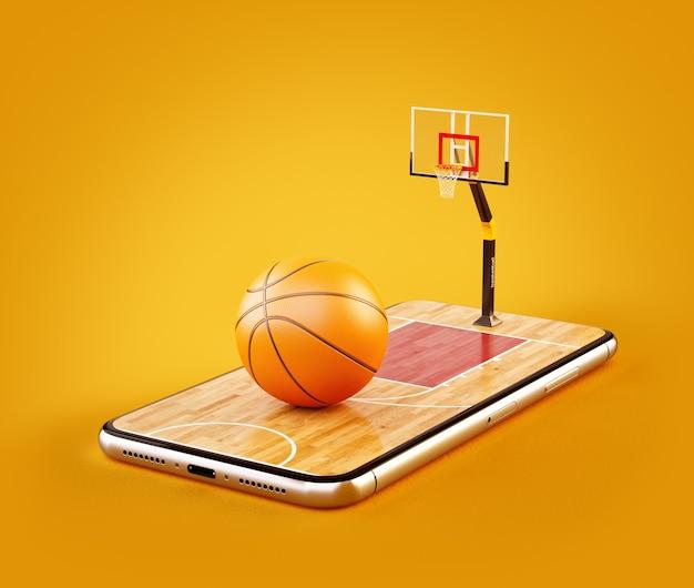 Ilustração 3d de uma bola de basquete na quadra em uma tela de smartphone