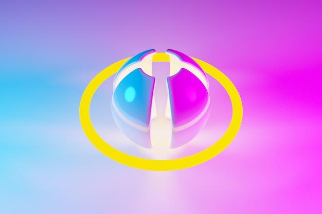 Ilustração 3d de uma bola de néon rosa e amarela com pétalas e oribt brilha seus raios em direções diferentes na luz de fundo