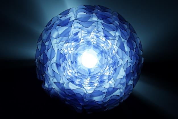 Ilustração 3d de uma bola de vidro transparente com muitas folhas espalhadas por cristais