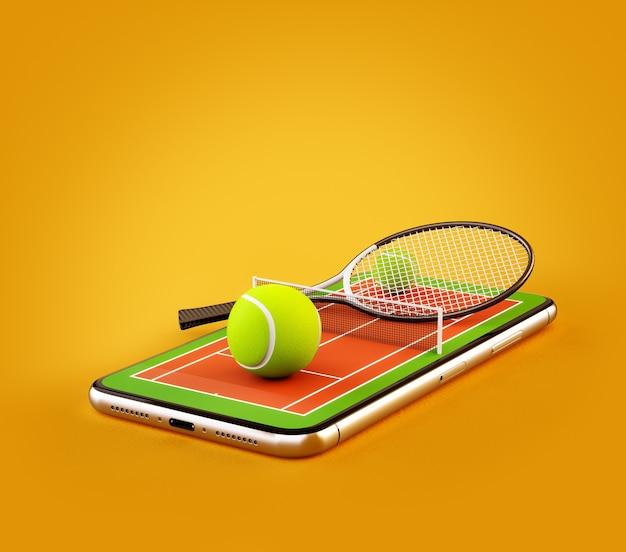 Ilustração 3d de uma bola e uma raquete de tênis na quadra em uma tela de smartphone