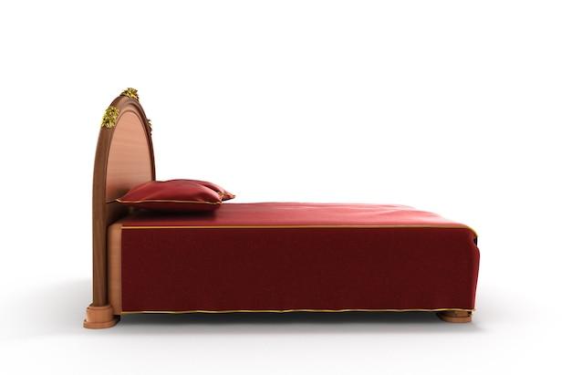 Ilustração 3d de uma cama de madeira com um colchão isolado em um fundo branco