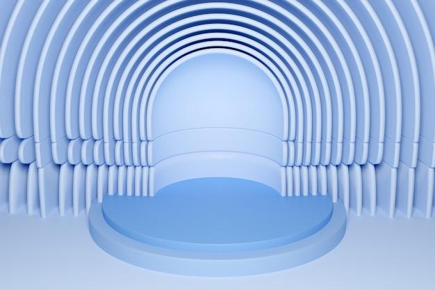 Ilustração 3d de uma cena de um círculo com arco redondo na parte de trás em um fundo azul