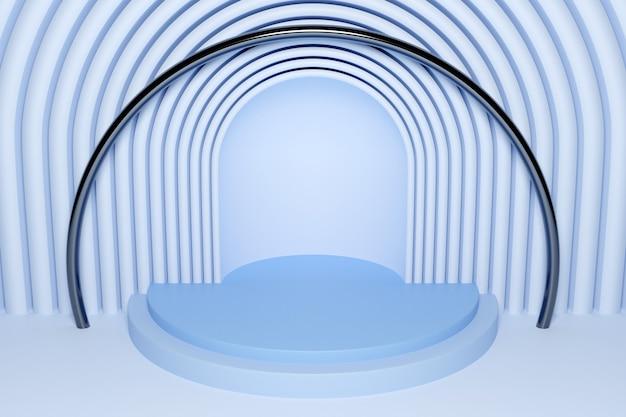 Ilustração 3d de uma cena de um círculo com arco redondo na parte de trás em um fundo azul.