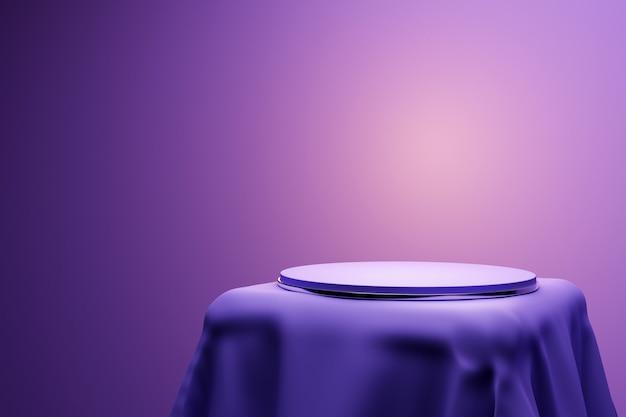 Ilustração 3d de uma cena de um círculo em um pedestal sob um pano roxo
