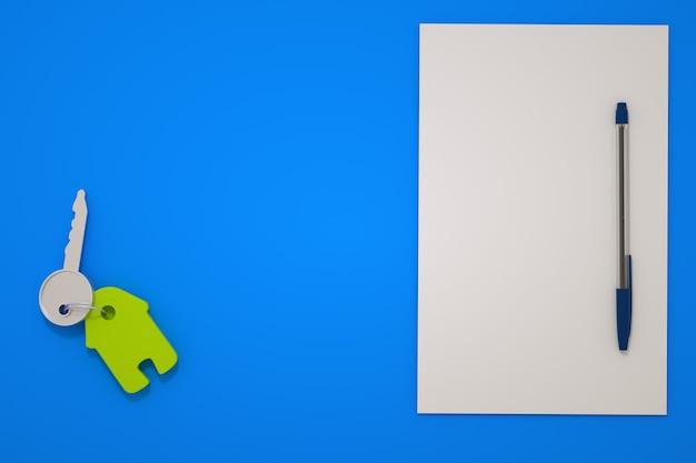 Ilustração 3d de uma chave de casa com um chaveiro verde em uma mesa azul. a chave está em um fundo azul isolado ao lado do papel e da caneta. chave da casa, apartamento. gráficos 3d
