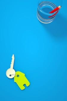 Ilustração 3d de uma chave de casa com um chaveiro verde em uma mesa azul. a chave está em um fundo azul isolado. copo com um lápis vermelho ao lado. gráficos 3d