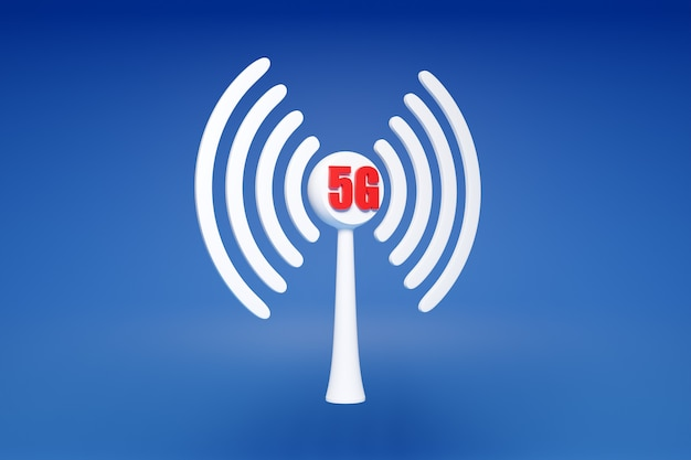 Ilustração 3d de uma conexão de celular wi-fi, 5g em um fundo azul. ícone para celular ou dispositivo inteligente.