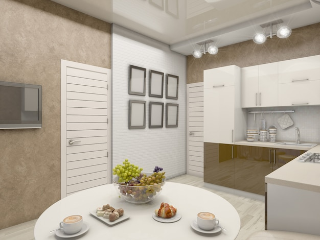 Ilustração 3d de uma cozinha em tons bege