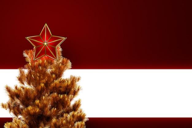 Ilustração 3d de uma estrela decorativa de natal no topo de uma árvore de natal com um belo bokeh de fundo. atributos de natal e ano novo.