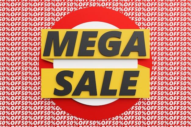 Ilustração 3d de uma etiqueta de venda. oferta especial, grande venda, desconto, melhor preço, banner de mega venda.
