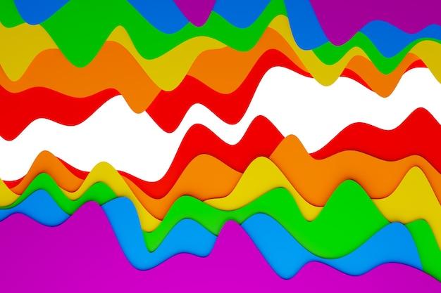 Ilustração 3d de uma faixa estéreo de cores diferentes. listras geométricas semelhantes a ondas. padrão de linhas cruzadas brilhantes coloridas abstratas