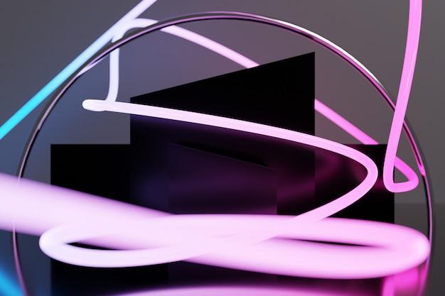Ilustração 3d de uma faixa estéreo de cores diferentes. listras geométricas semelhantes a ondas.