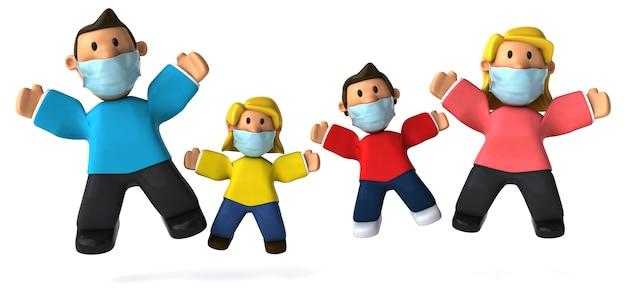 Ilustração 3d de uma família com uma máscara