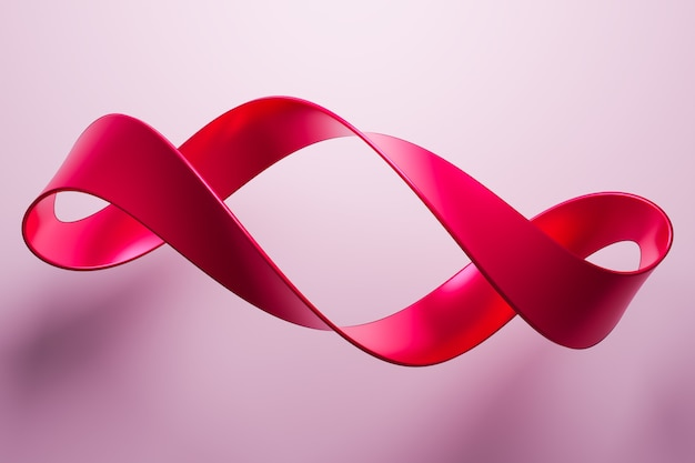 Ilustração 3d de uma fita vermelha voa, listras estéreo de cores diferentes.