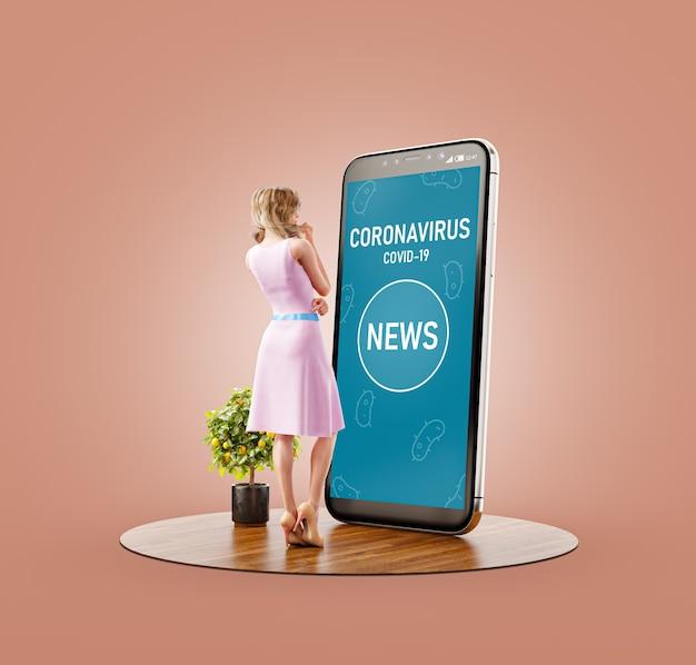 Ilustração 3d de uma jovem em frente a um grande smartphone lendo notícias sobre coronavírus