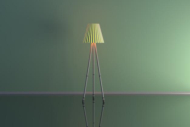 Ilustração 3d de uma lâmpada em uma sala verde