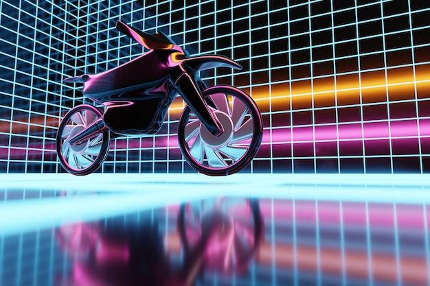 Ilustração 3d de uma motocicleta preta em uma sala de néon brilhante