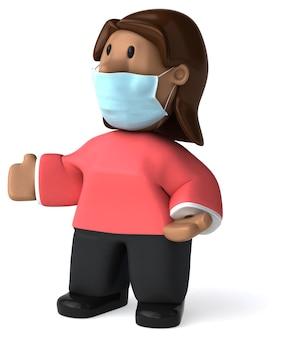 Ilustração 3d de uma mulher com uma máscara