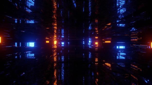 Ilustração 3d de uma rua escura da cidade com luzes brilhantes azuis e laranja como fundo abstrato