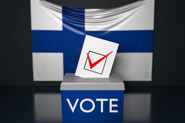 Ilustração 3d de uma urna com a bandeira nacional da finlândia na superfície.