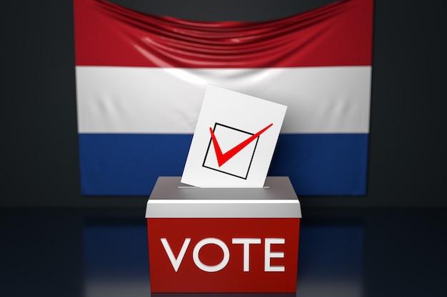 Ilustração 3d de uma urna com a bandeira nacional da holanda na superfície.