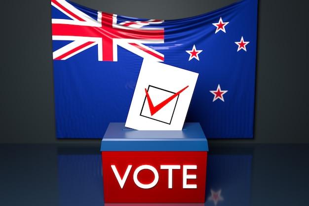 Ilustração 3d de uma urna ou urna de voto com a bandeira nacional australiana na superfície.
