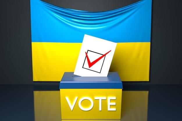 Ilustração 3d de uma urna ou urna de voto, na qual uma cédula de voto cai de cima, com a bandeira nacional da ucrânia
