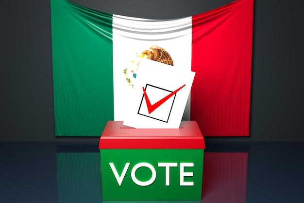 Ilustração 3d de uma urna ou urna de voto, na qual uma cédula de voto cai de cima, com a bandeira nacional do méxico