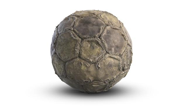 Ilustração 3d de uma velha bola de futebol ou de futebol usada isolada no fundo branco
