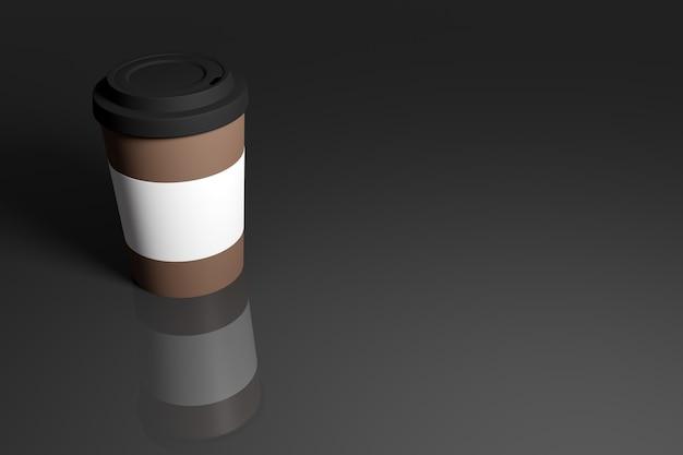 Ilustração 3d de uma xícara de café com tampa e suporte de plástico em um fundo escuro isolado com reflexo e sombra