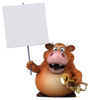 Ilustração 3d de vaca divertida